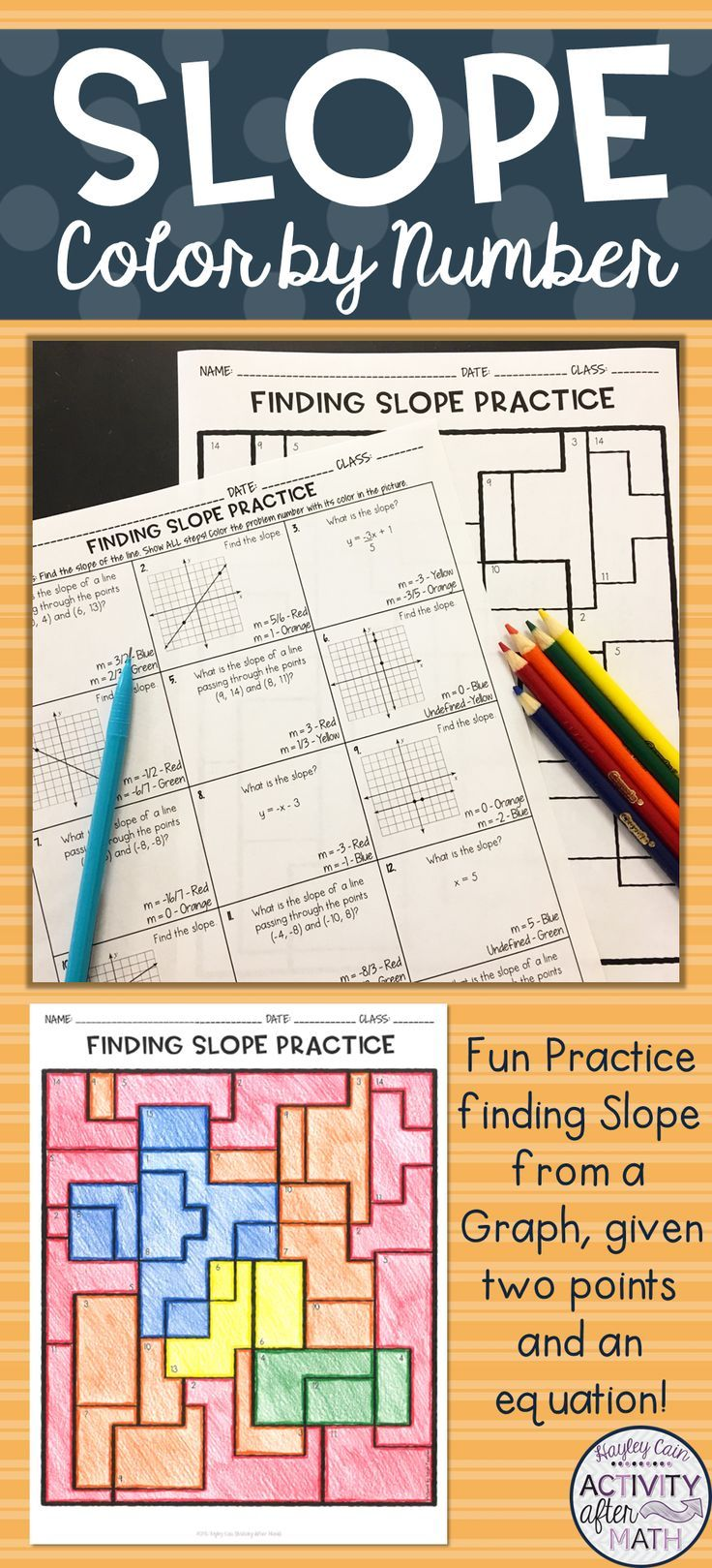 Finding Slope Coloring Activity Educational All Stars
