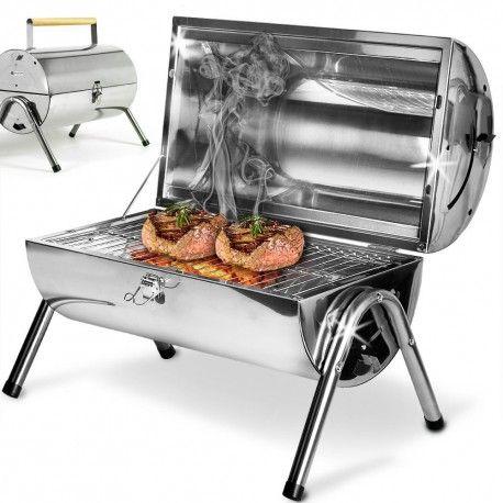 Barbecue Barrel portable en inox à charbon ou bois