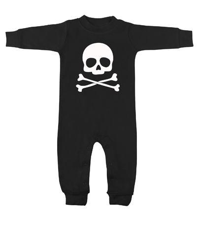 Skull Crossbones Black White Long Sleeve Romper Babies Baby