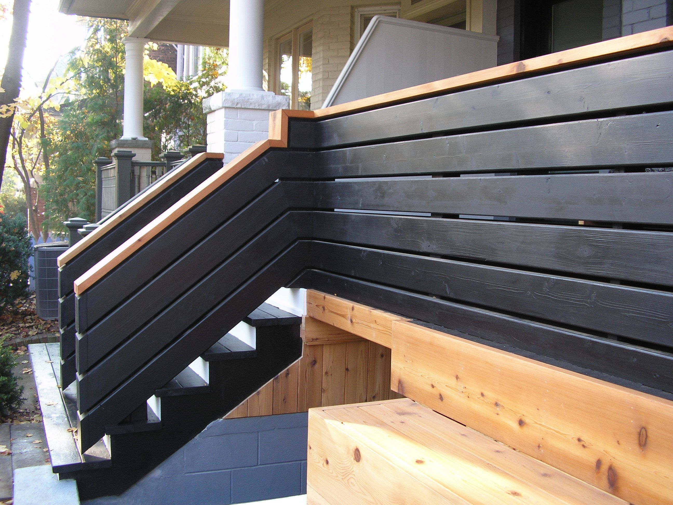 Cedar fence and decking as well as black solid stain and flood uv