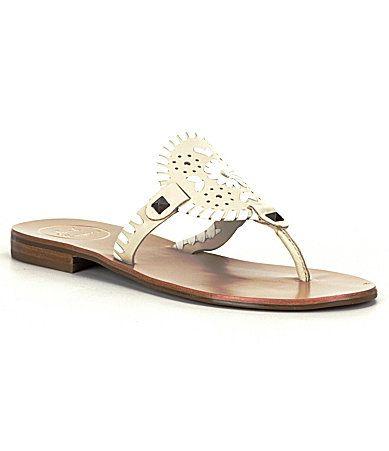 Jack Rogers Georgica Studded Whipstitch Slip-On Sandals 01vaAX5S