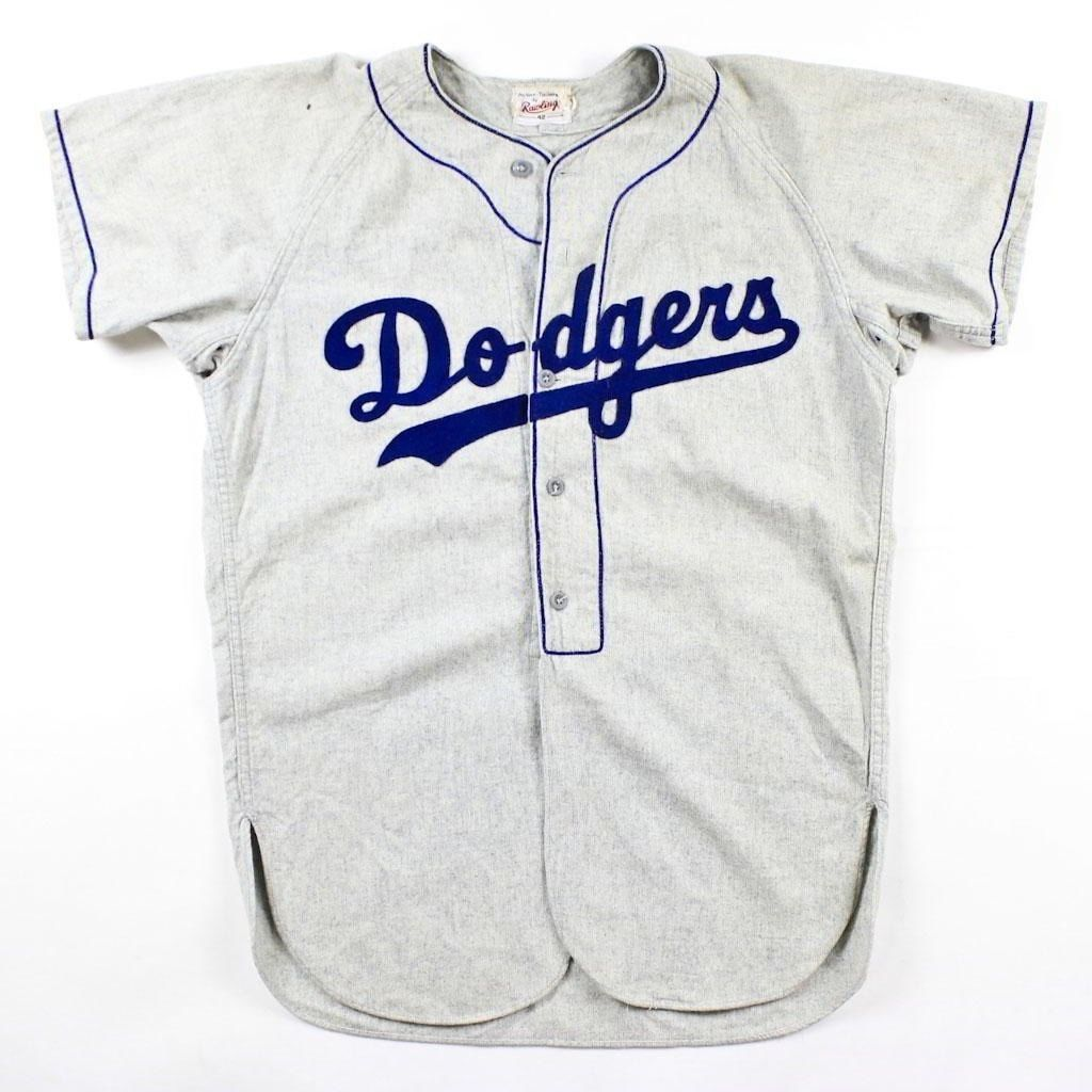 Vintage 1950s Brooklyn Losangeles Dodgers Game Worn Flannel Baseball Jersey  52  593fe90ef6d