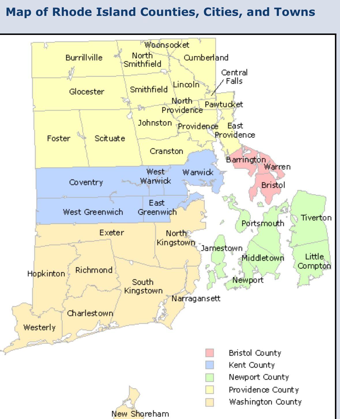Rhode Island Map Island County Rhode Island Rhode Island History