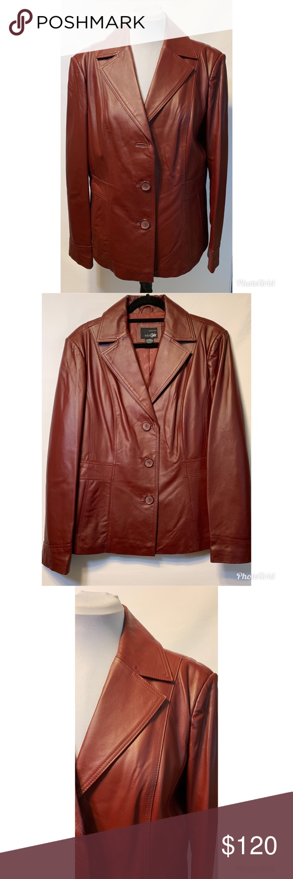 East 5th Ave Leather Jacket Rusty Red XL Pockets Leather