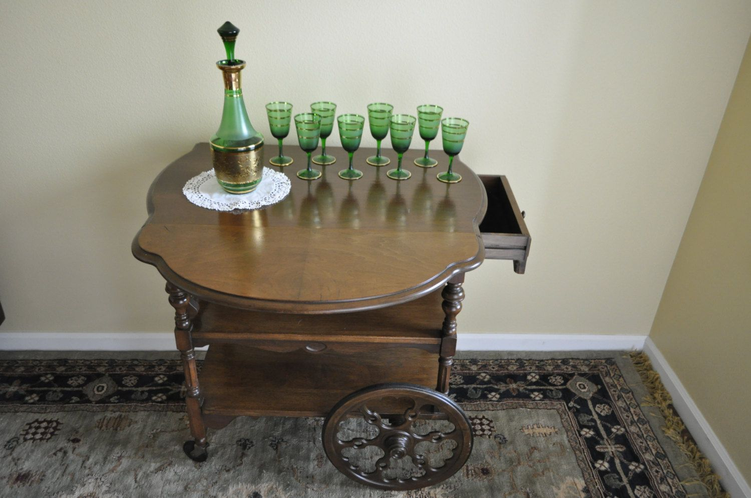Antique Wooden Rolling Bar/serving Table/ By RjBeaVintageCravings