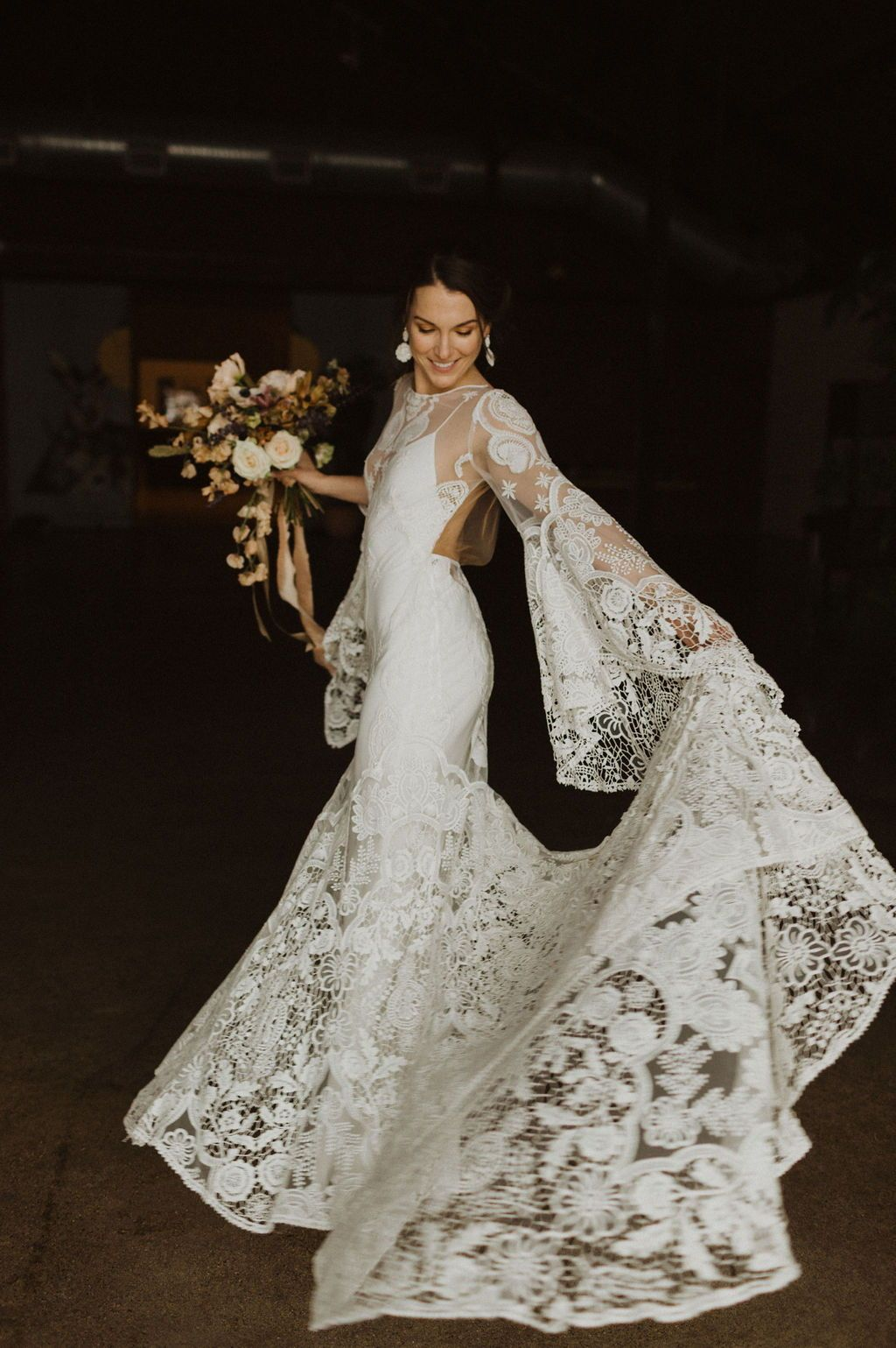 Earthy Industrial Boho Wedding Inspo Rue De Seine Long Sleeve Lace Dress: Earthy Hippie Wedding Dresses At Websimilar.org