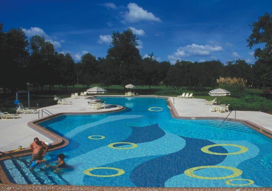 All over patterns can be embedded in plaster using glass for Pool design pattern