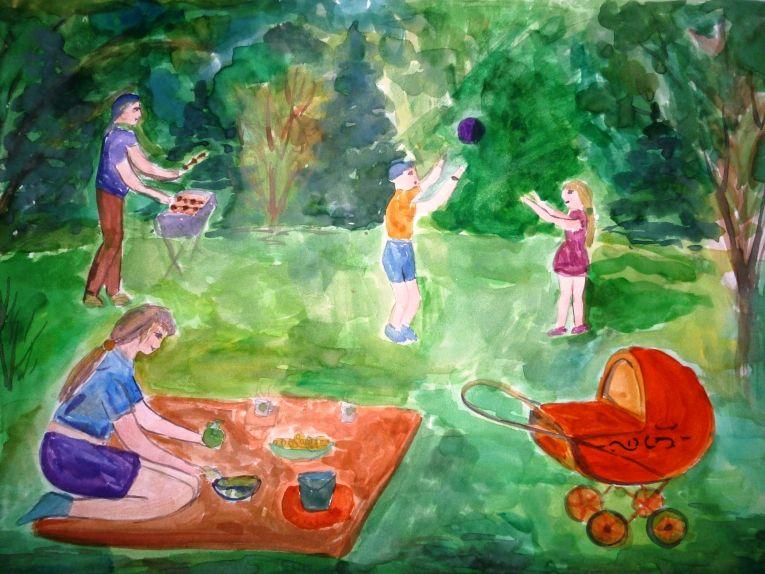 рисунок пикник с семьей введения диспорта