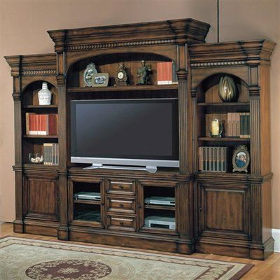 Superior Parker House GEN#600 5WS Genoa FivePiece Entertainment Center, Dark Red  Walnut