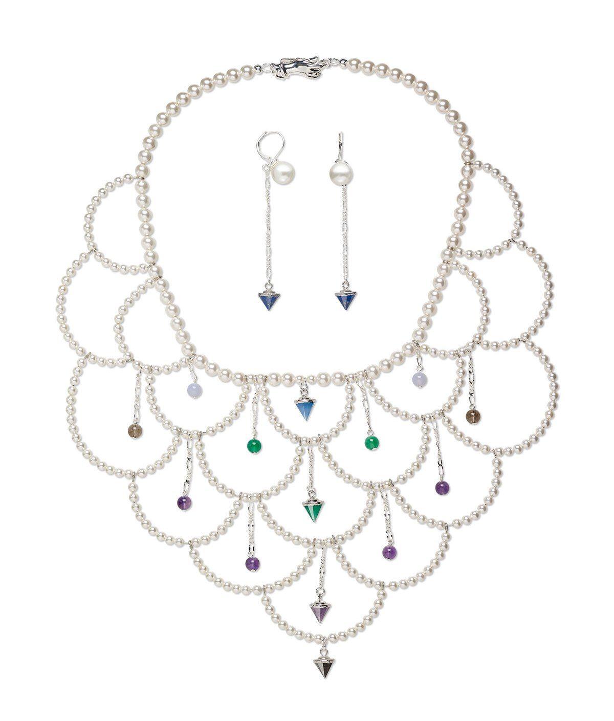 Swarovski Crystal Pearls And Gemstone Drops For A Wedding