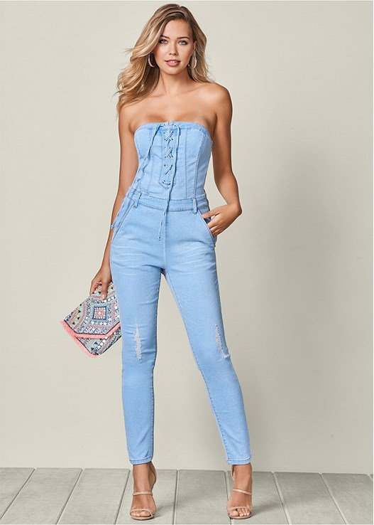 bf3d55829dd Venus Women s Lace Up Denim Jumpsuit Jumpsuits   Rompers