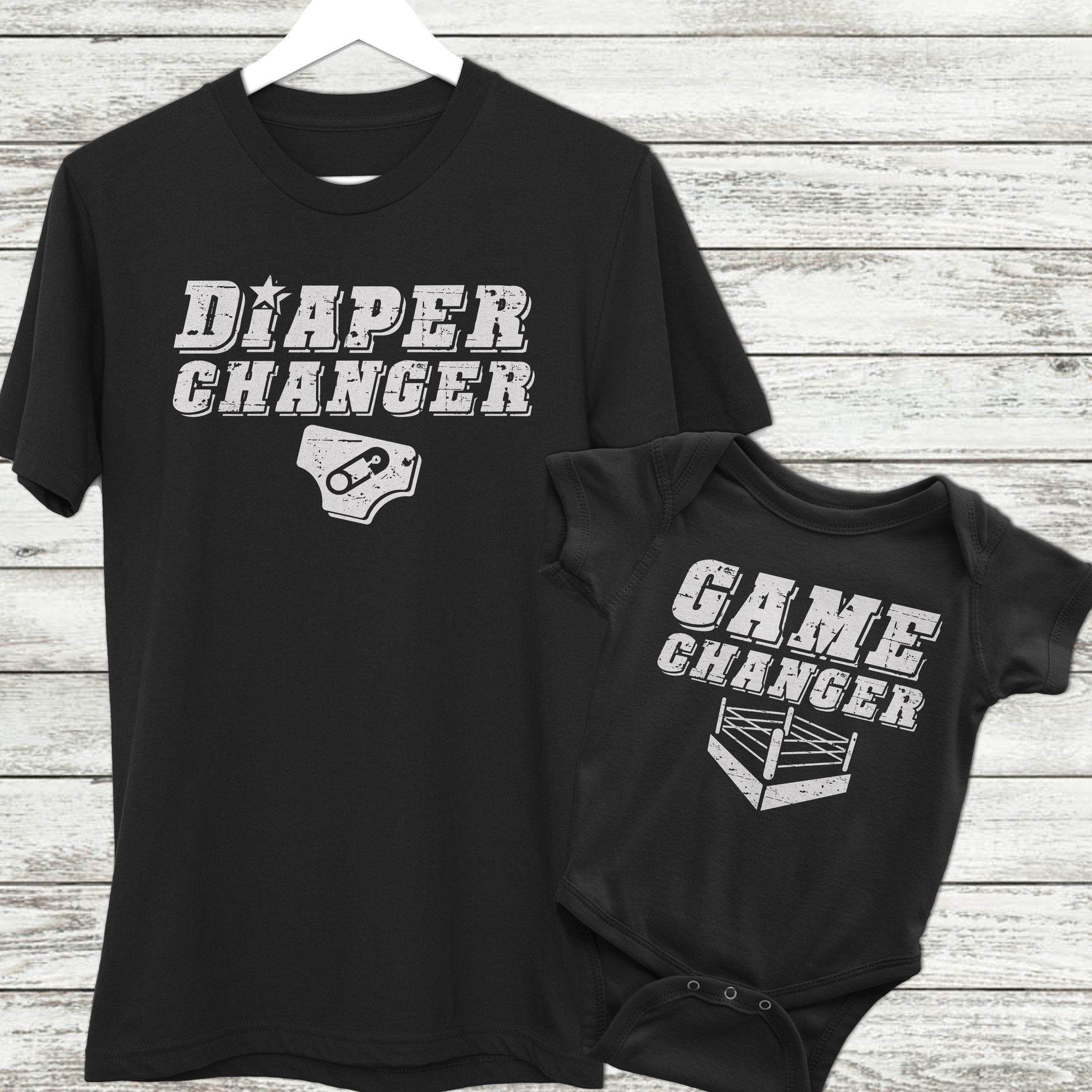248d45d9 Dad and Baby Matching Wrestling Shirt Set | Game Changer and Diaper Changer  | Baby Gift