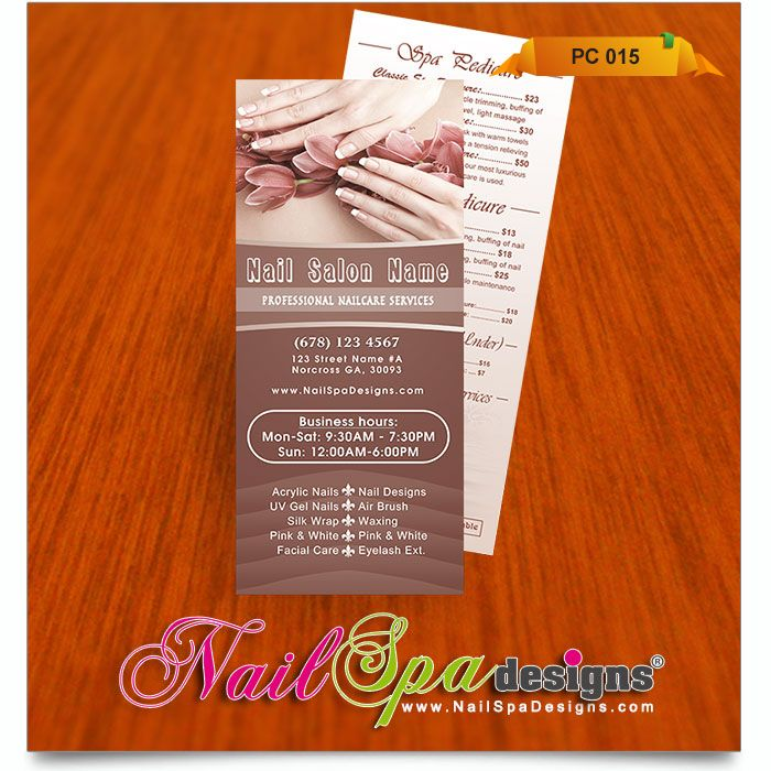 Price List template for Nail Salon. Visit www.NailSpaDesigns.com ...