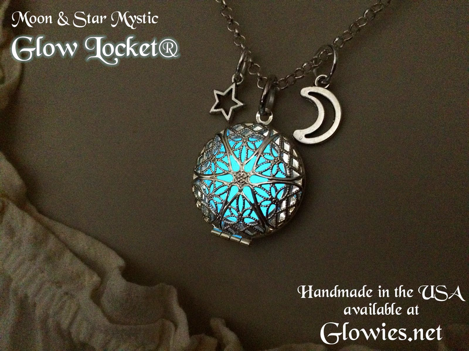 moon star sapphire and locket necklace filigree pin vintage glow lockets silver