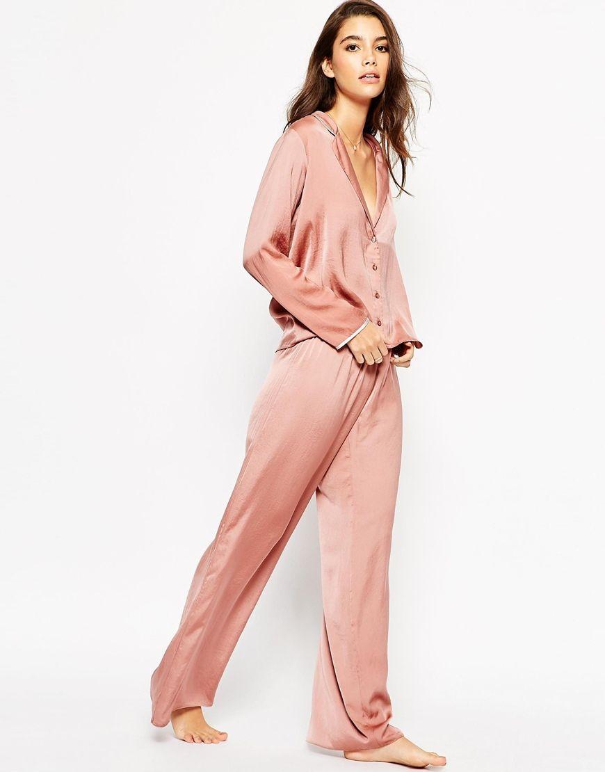 ASOS Moss Satin Piped Pyjama Top & Wide Leg Set | W I S H L I S T ...