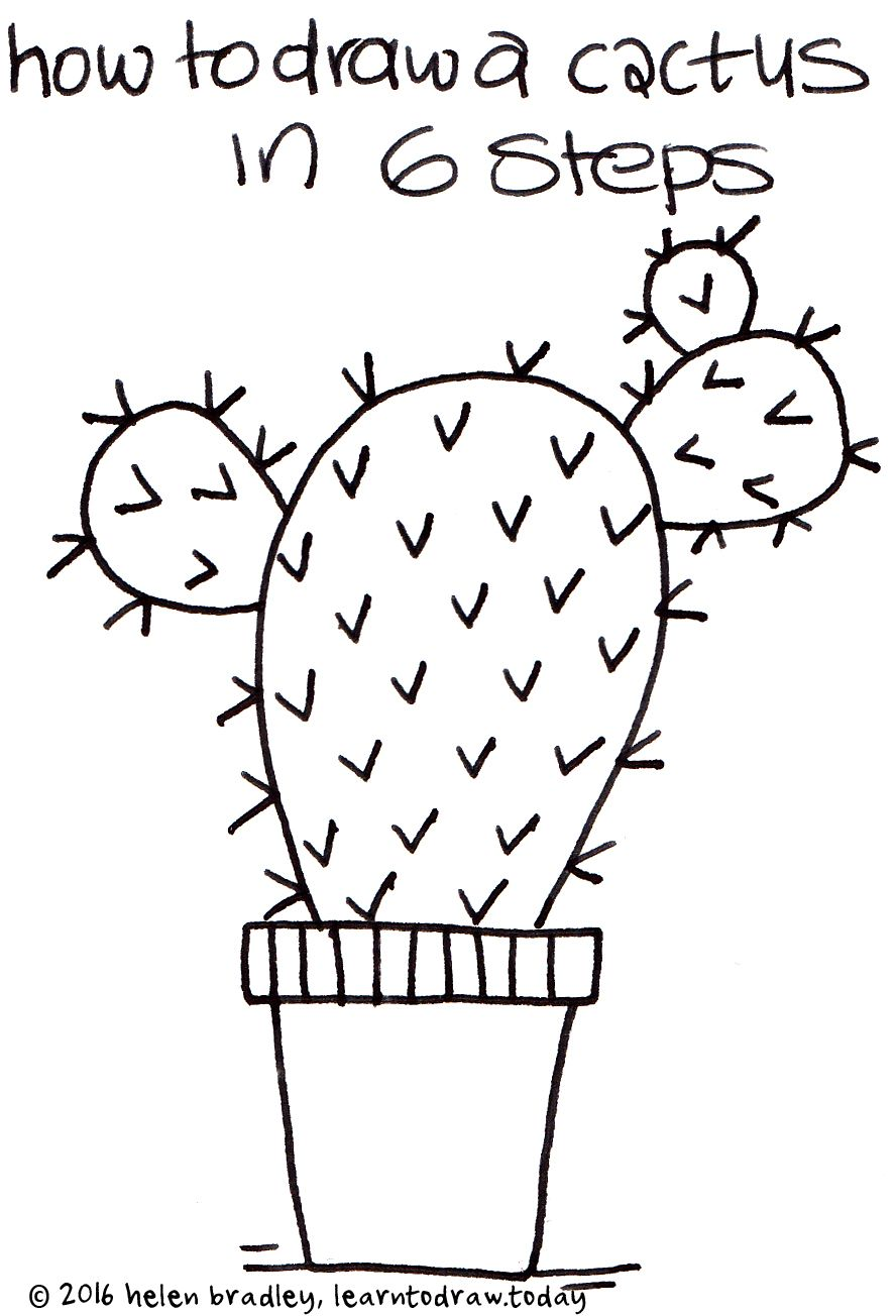 how to draw a cactus in 6 steps | Casa | Pinterest | Macetas ...