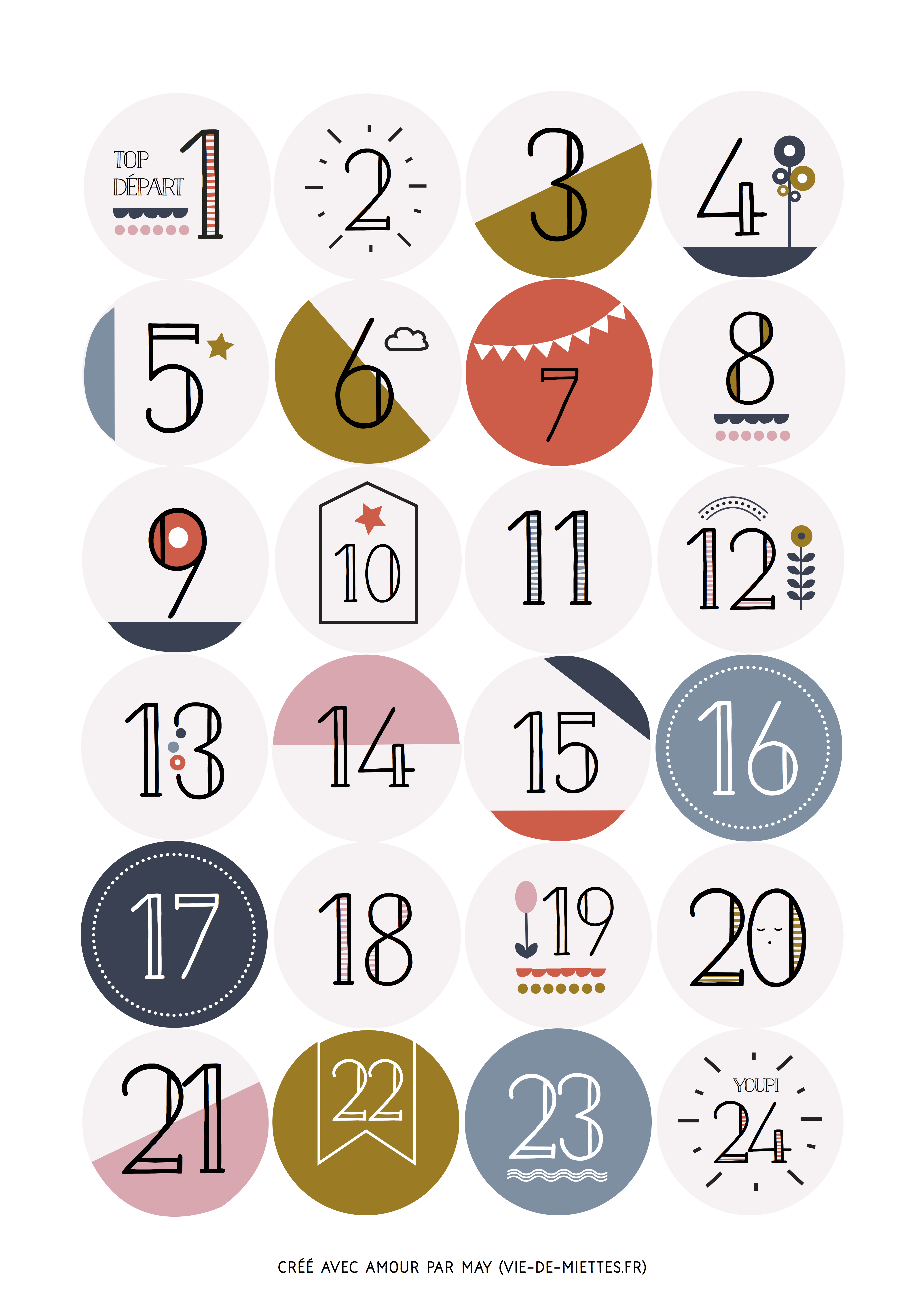 Des autocollants num rot s imprimer le calendrier avent et calendrier de - Chiffres pour calendrier de l avent a imprimer ...