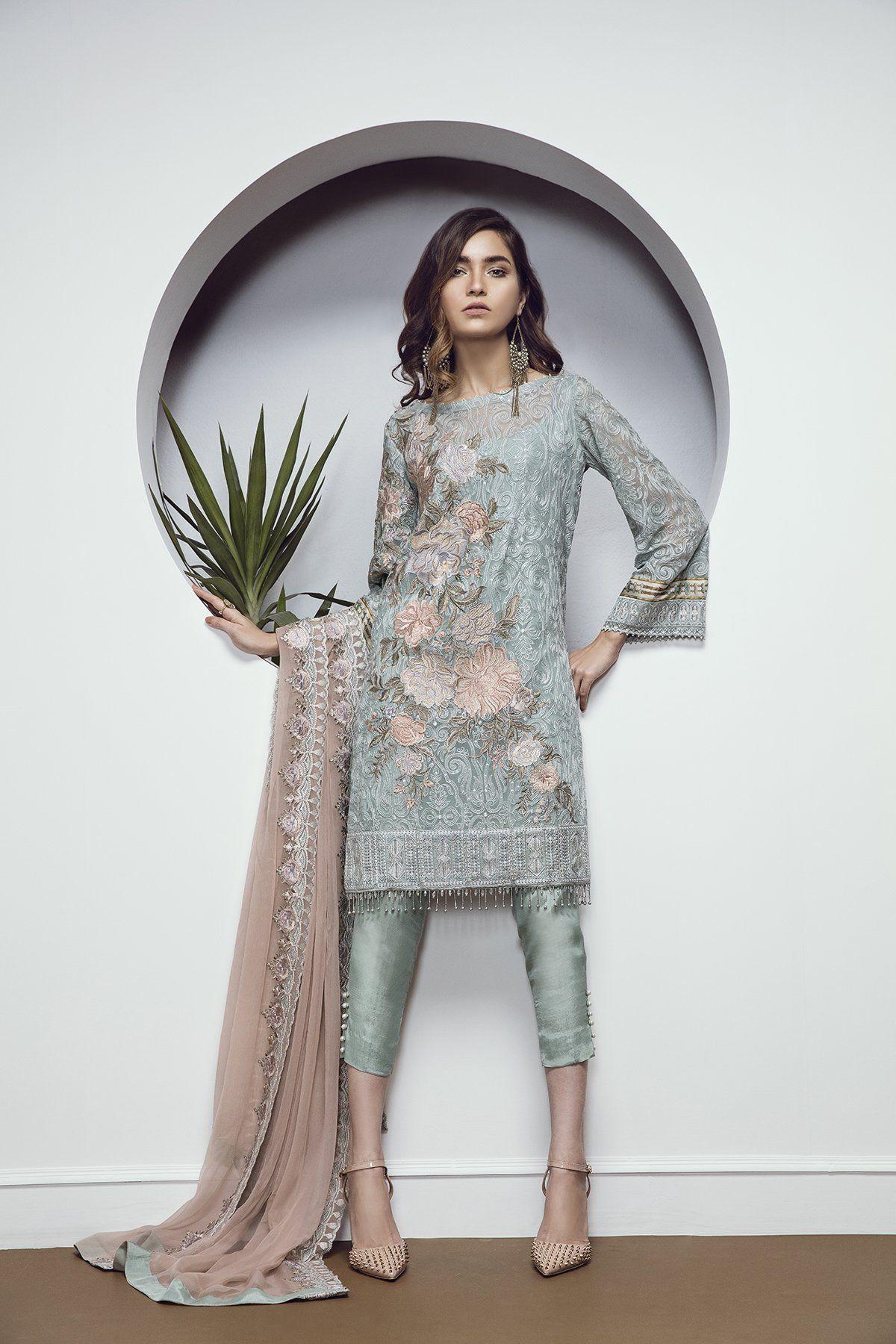 Grey elegance Pakistani ready to wear dress by Baroque