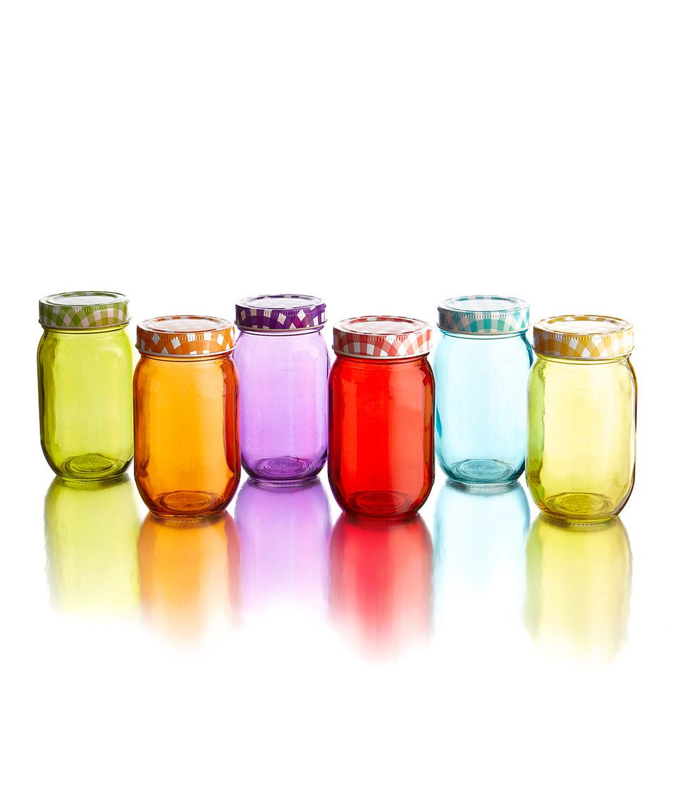 Love this Jay Import Jewel Glass 16-Oz. Jar & Lid - Set of Six by Jay Import on #zulily! #zulilyfinds