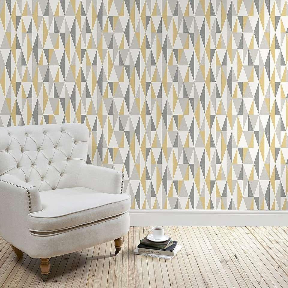 Triangle Ochre Wallpaper Living Room Decor Yellow And Grey Living Room Grey Wallpaper Living Room