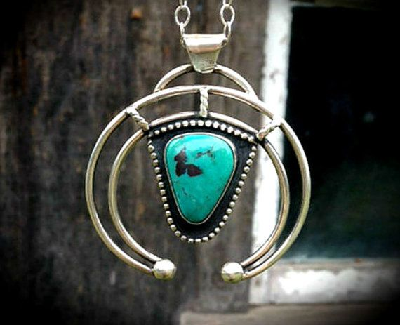 Turquoise native naja necklace navajo inspired naja pendant turquoise native naja necklace navajo inspired naja pendant turquoise jewelry 175 sterling silver chain made to order aloadofball Images