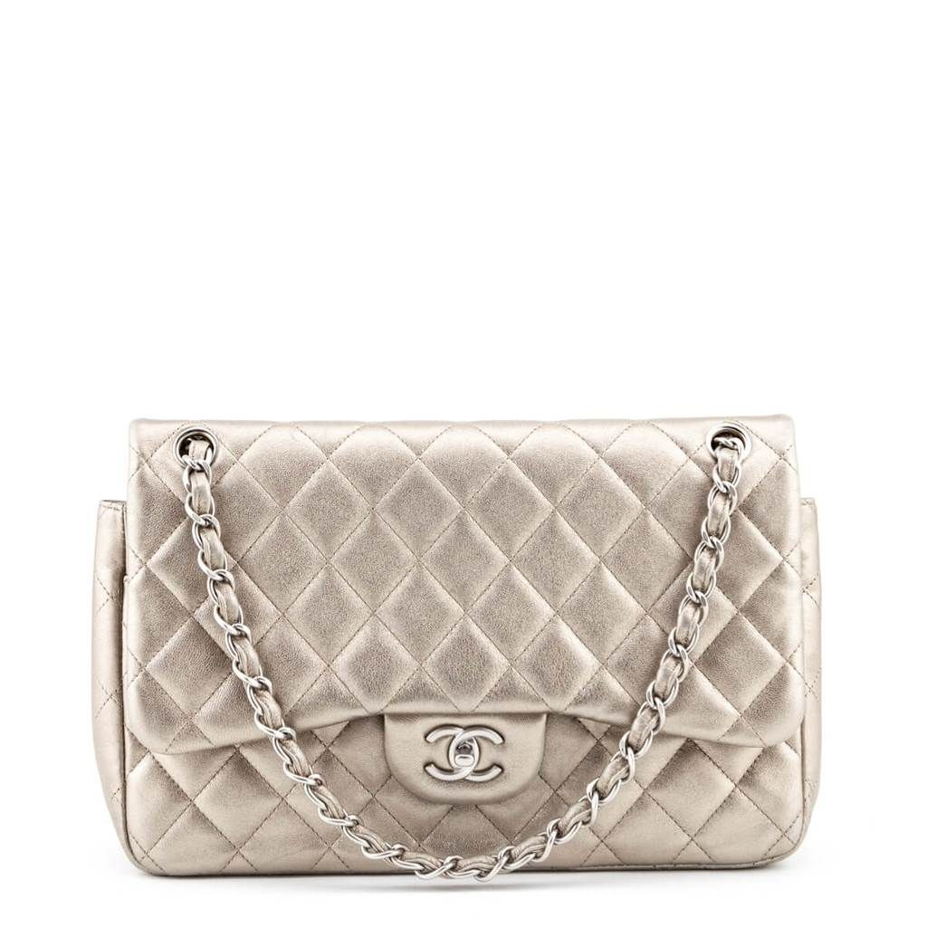 Chanel Metallic Pale Gold Quilted Lambskin Double Flap