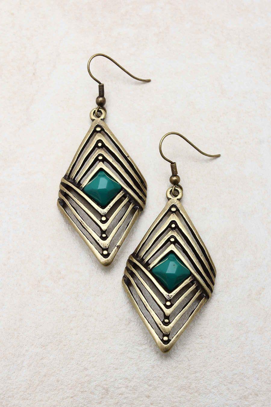 Paris Green Rella Earrings on Emma Stine Limited