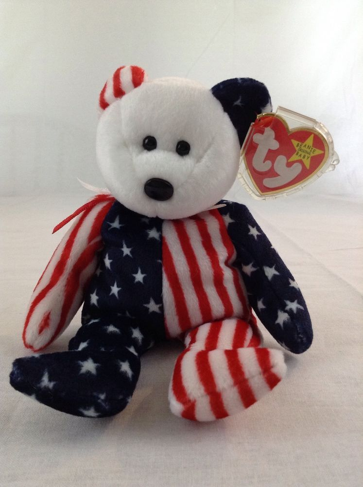 c6ef1fff064 1999 Ty Beanie Baby Bear Spangle USA Red White Blue Patriotic Stuffed Plush  Toy  Ty