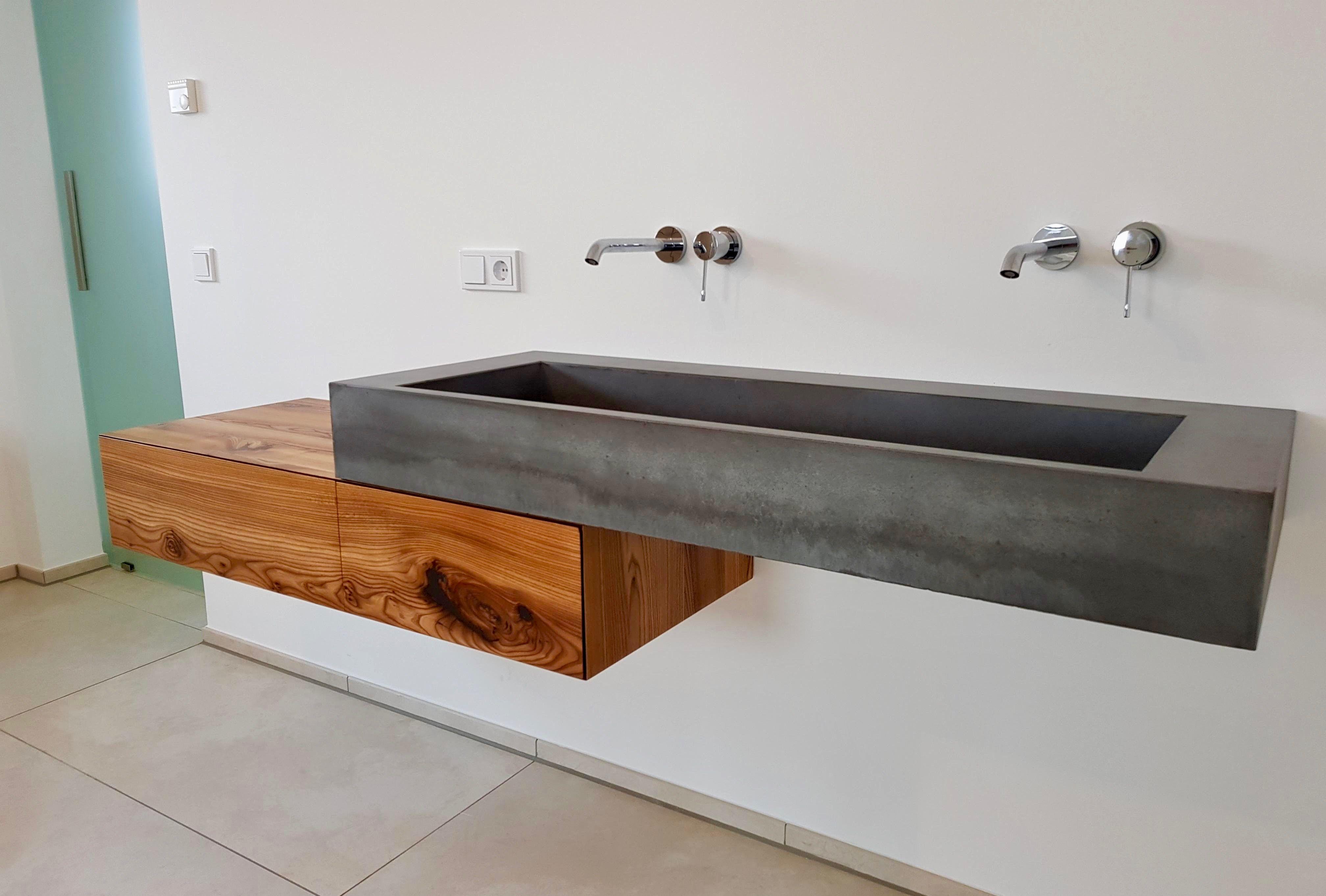 Unser Waschtisch Aus Unserem Xl Waschbecken In Beton Mit Eiche Unterschrank Begeistert Durch Das Unterschrank Waschbecken Badezimmer Ablage Unterschrank Bad