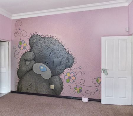 This adorable tatty teddy mural adorns the wall of a special little girl s  bedroom  Painting. This adorable tatty teddy mural adorns the wall of a special