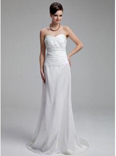 6c5bd25d2 Sheath Column Sweetheart Court Train Taffeta Wedding Dress With Ruffle  Beading Vestidos De Novia De