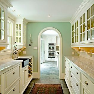 Fun use of color - yellow under cabinets