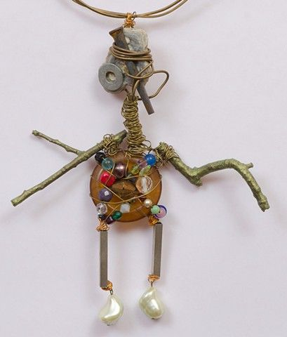 """MIXED MEDIA """"Ugly Man With Button Belly"""" Detail"""