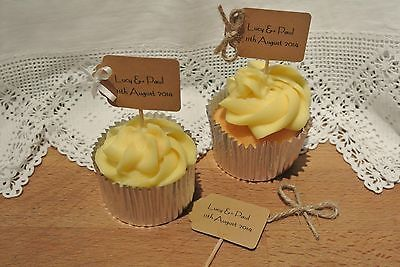 Personalised Wedding cupcake picks toppers ,shabby chic, rustic, luggage tagx10