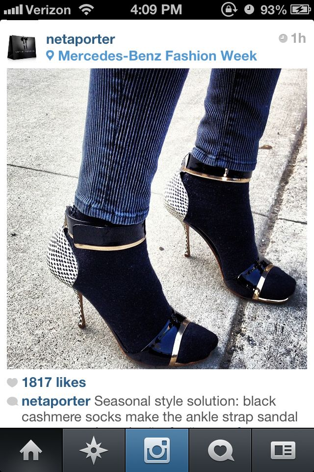 Black cashmere socks with ankle strap shoes