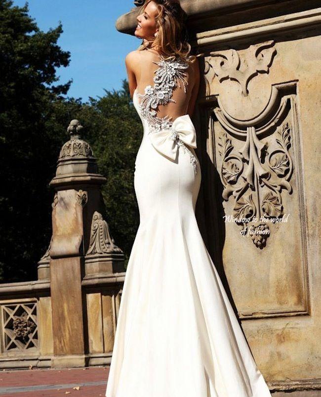 Tarik Ediz Detailed Back Wedding Gown Love The Bow