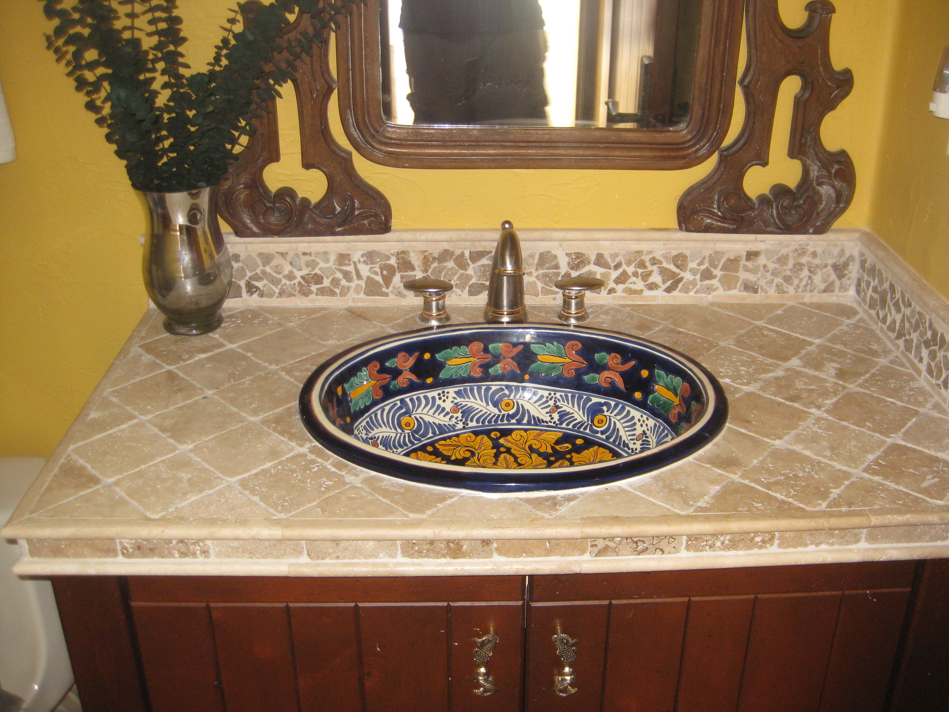 Mexican Talvera Hand Painted Mexican Sink With A Tumbled Stone Sink Top Unique Interior