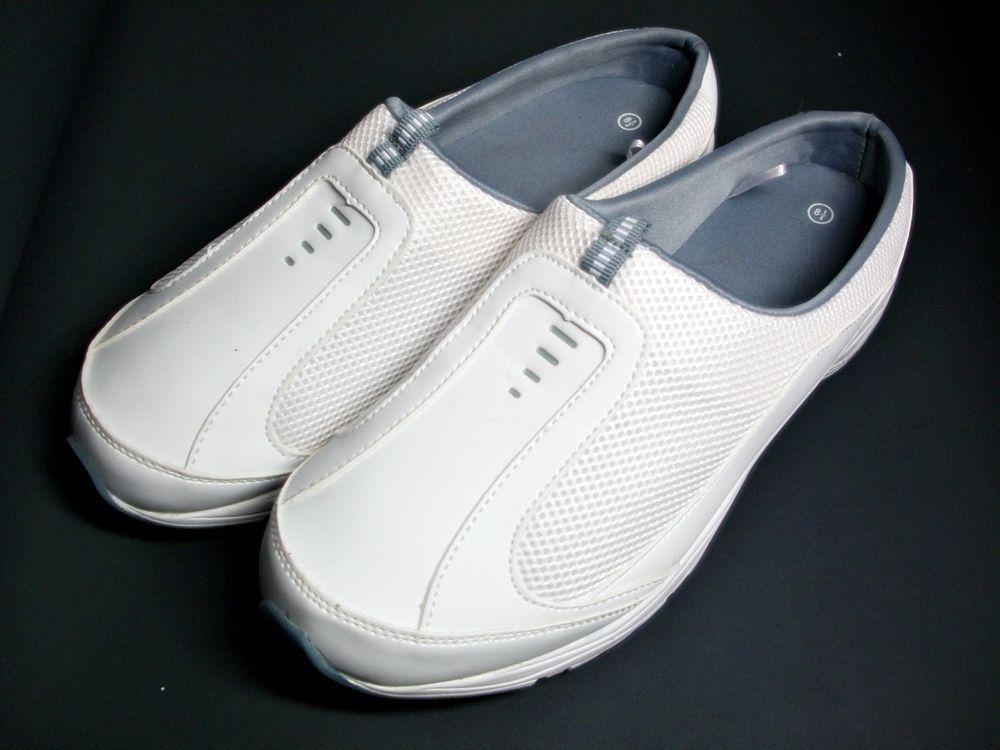 white casual open back slip on shoe