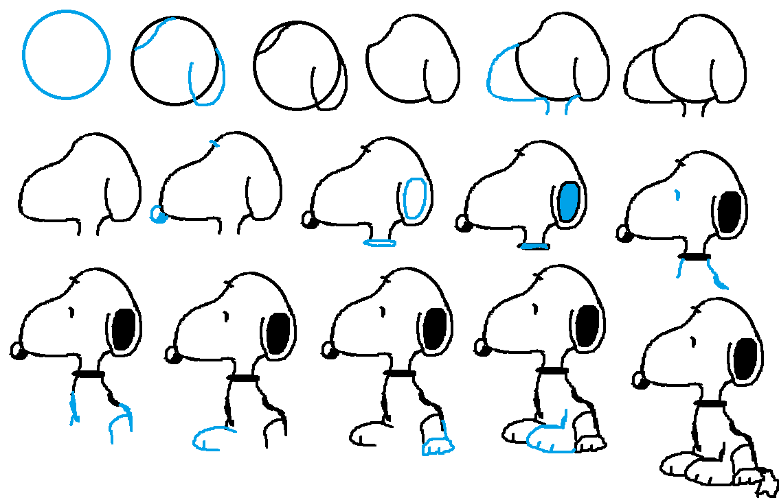 Simple ways that teaches you how to draw peanuts snoopy for Drawing ideas for beginners step by step