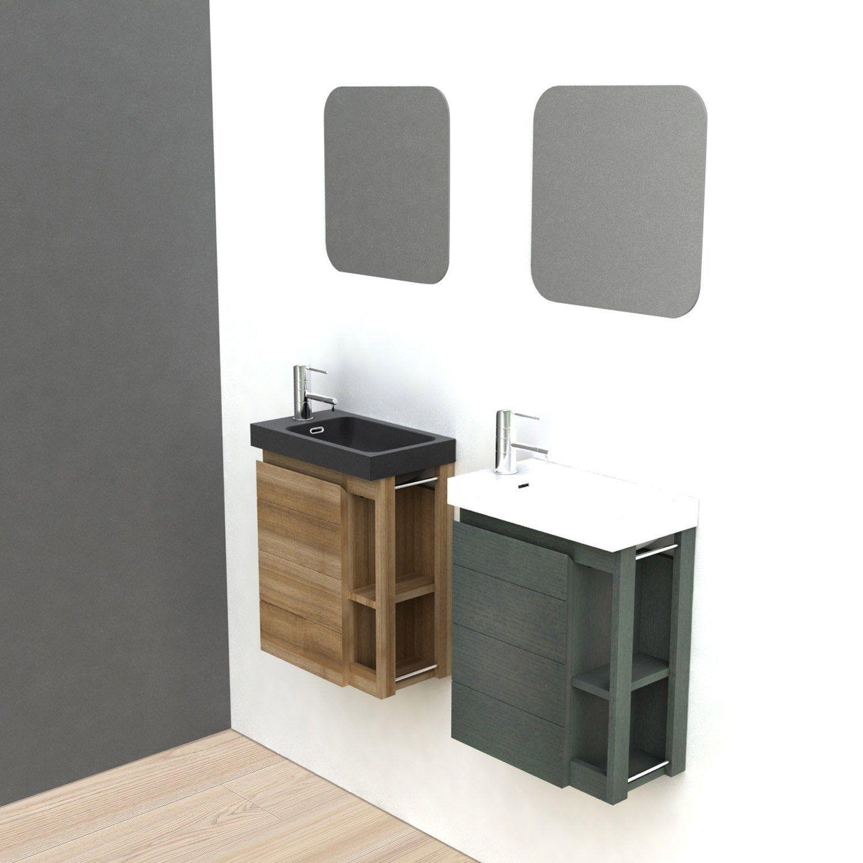 Meuble Lave Mains Avec Miroir Noir L 22 5 X P 40 X H 48 Cm