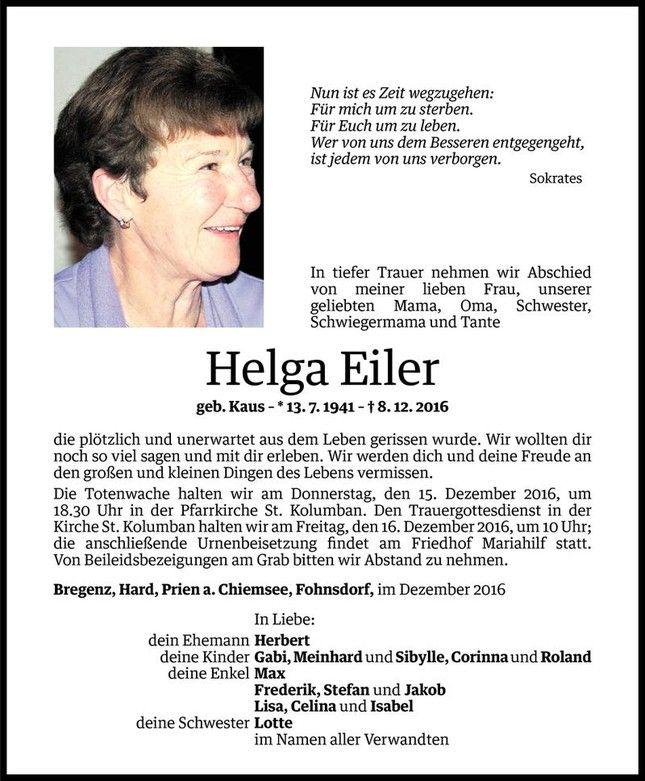 Todesanzeige Fur Helga Eiler Vom 12 12 2016 Vn Todesanzeigen