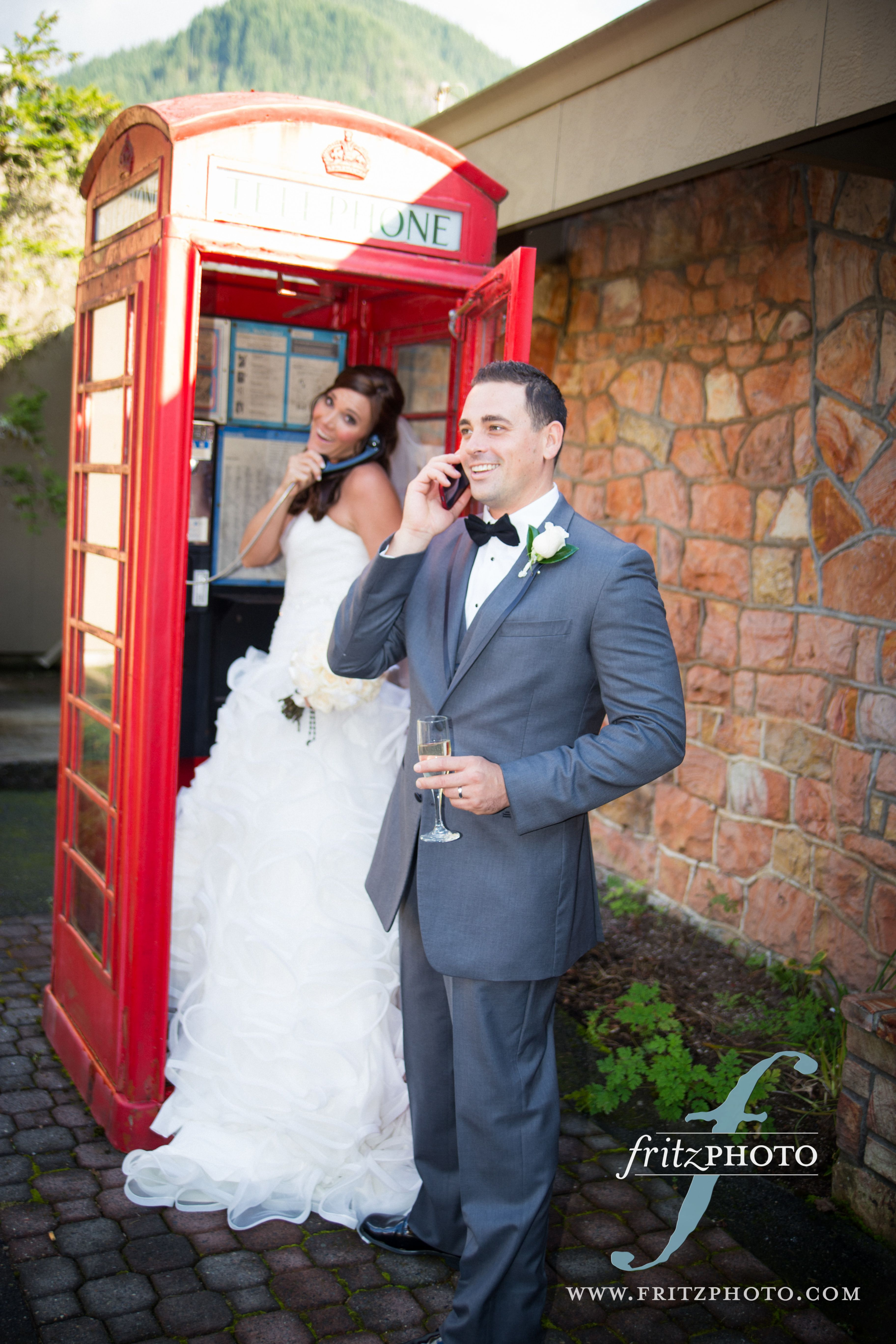 Red phone booth fall weddings at the resort at the mountain