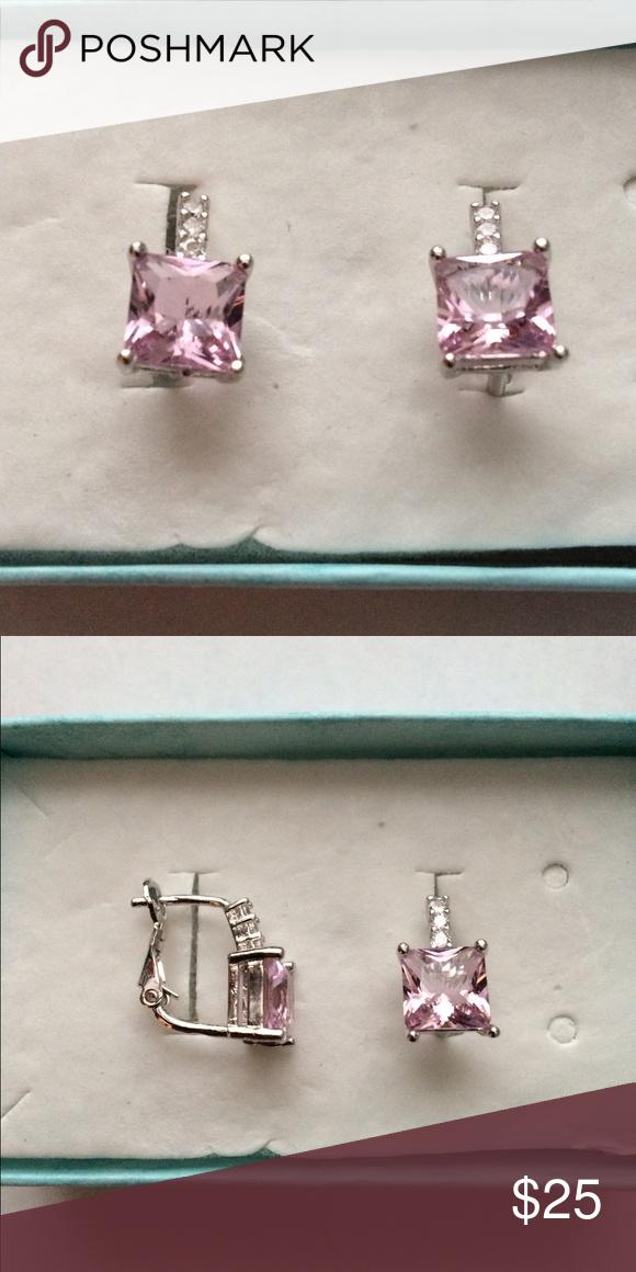 Princess Cut Pink Amethyst Earrings Princess Cut Synthetic Pink Amethyst and Crystal CZ Earrings Jewelry Earrings