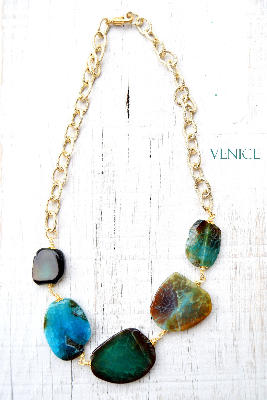 3c609bcb15a384 Collana azzurra, collana blu, collana verde, collana maxi, collana ...