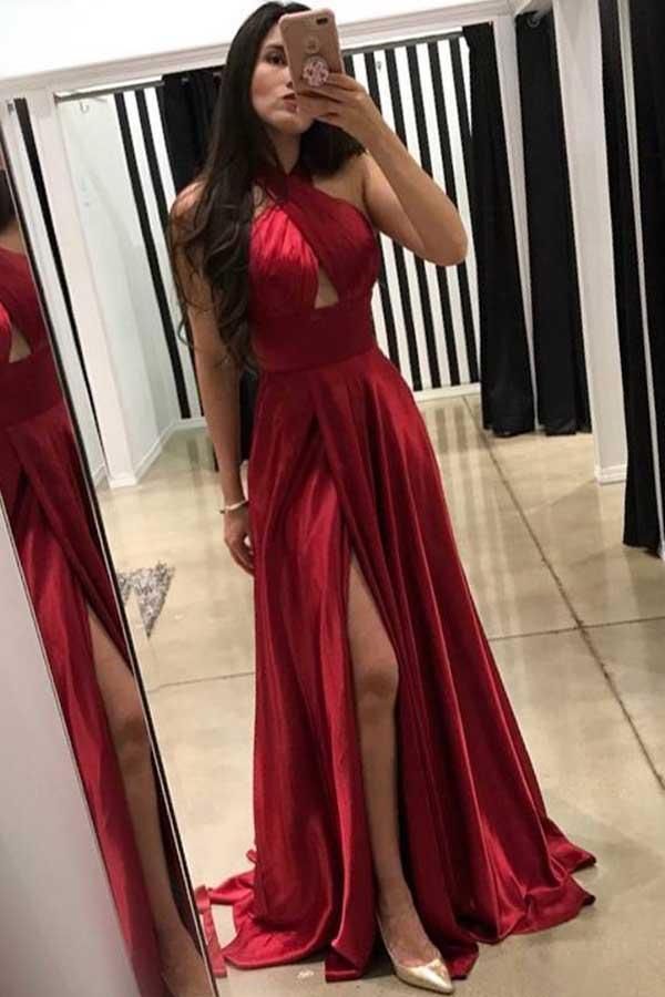 dark red prom dress