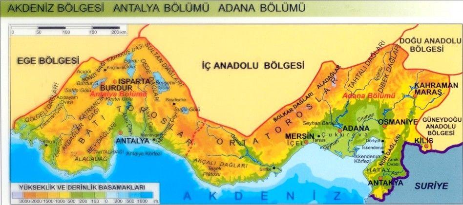 Akdeniz Bolgesi Fiziki Haritasi Akdeniz Bolgesi Resimler Resim Fizik