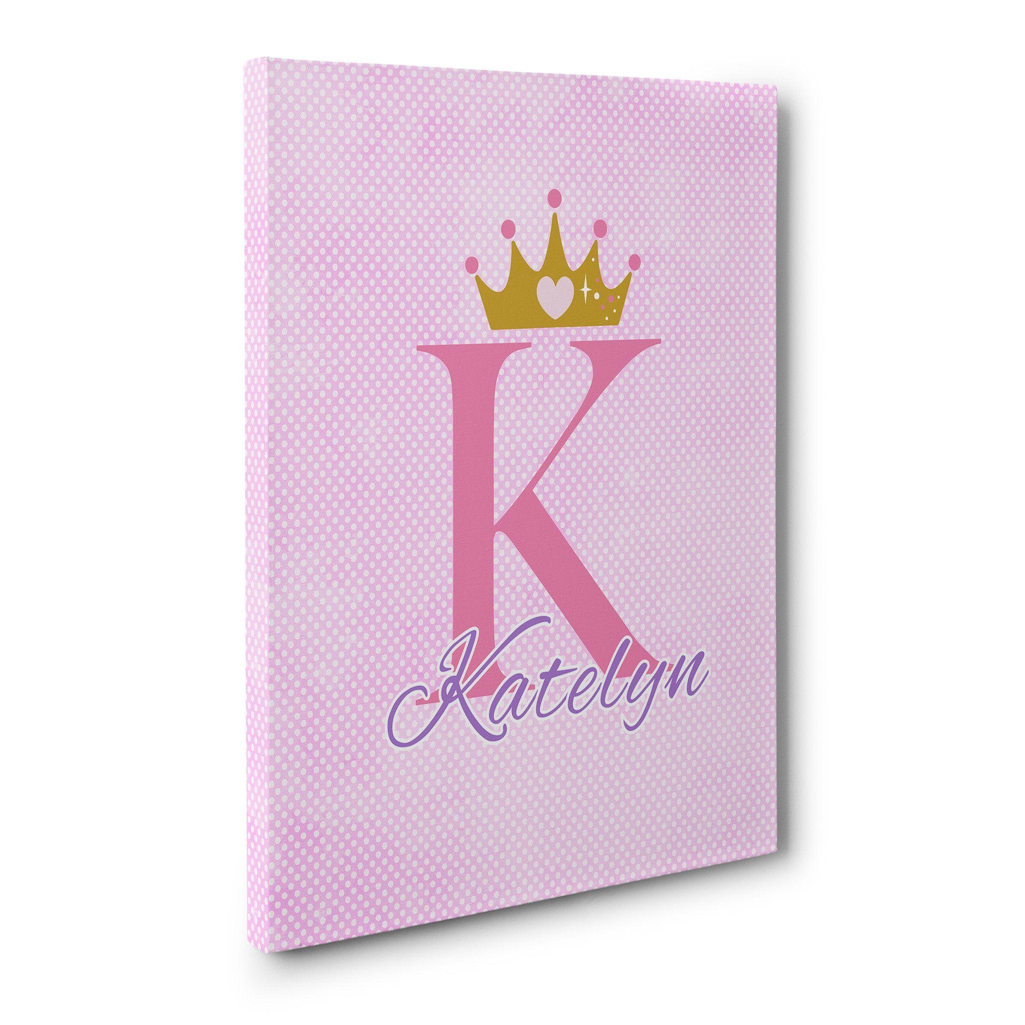 pink polka dot customized princess canvas art pinterest