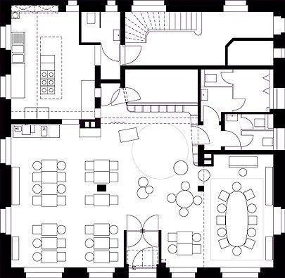 bella restaurant floor-plan layout | LOCALIAMO | Cocinas e Cafeteria