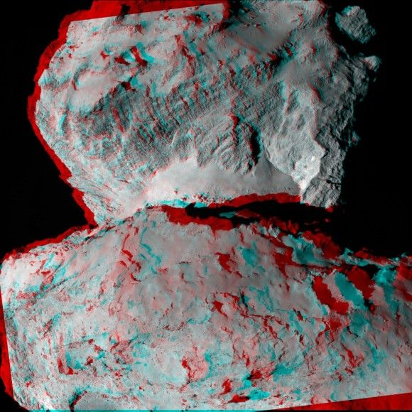 Rosetta's Comet, Now in 3-D by NANCY ATKINSON on AUGUST 14, 2014 A 3-D image from the Rosetta spacecraft showing Comet 67P/Churyumov-Gerasimenko and its boulder-strewn 'neck' region. Also visible is an exposed cliff face and numerous crater-like depressions. Credit: ESA/Rosetta/MPS for OSIRIS Team MPS/UPD/LAM/IAA/SSO/INTA/UPM/DASP/IDA.