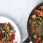 Brussels Sprouts and Steak Stir-Fry. Different and healthy Asian recipe.
